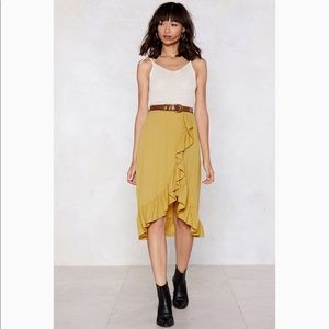Nasty Gal lining ruffle midi skirt / mustard